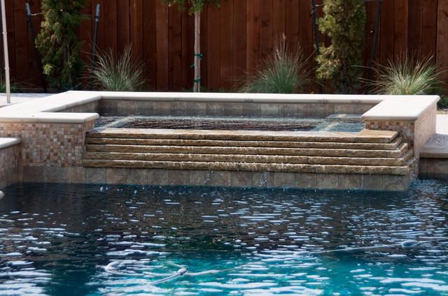 Cypress Custom Pools Spa W Cascading Stacked Stone