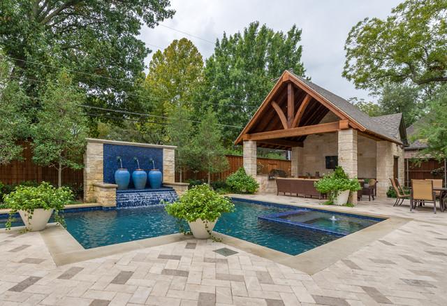 Dallas backyard pool retreat traditional pool for Traditional swimming pool designs