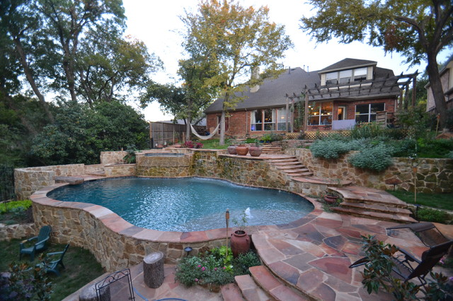 Dallas Steep Hillside Pool And Spa Rustic Pool Dallas on Swimming Pool Deck Lighting Ideas