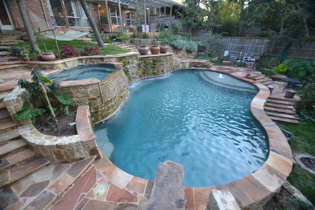 Dallas Steep Hillside Pool Spa Rustic Pool Dallas