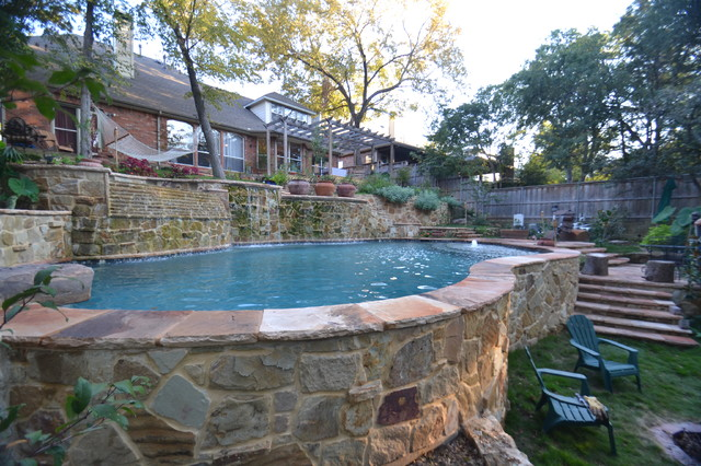 Dallas Steep Hillside Pool Amp Spa Rustic Pool Dallas