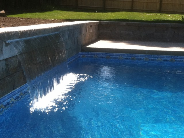 Danvers Ma Rectangle With Spadeck And Waterfall Traditional Pool