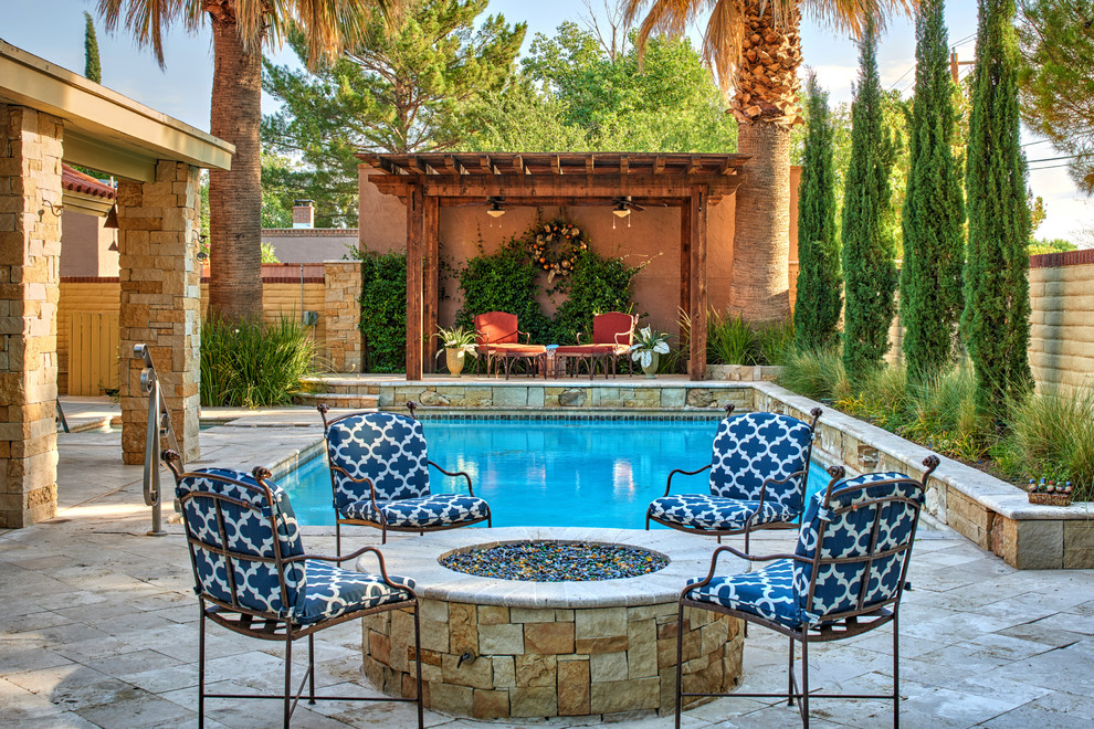 Inspiration for a mid-sized mediterranean pool remodel in Austin