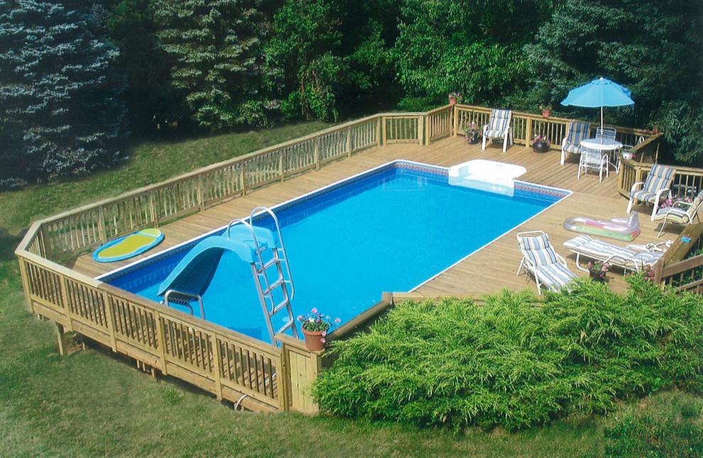 Water slide - mid-sized modern backyard rectangular aboveground water slide idea in Detroit with decking