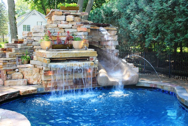 Delavan Lake Pool With Rock Slide Eclectic Pool