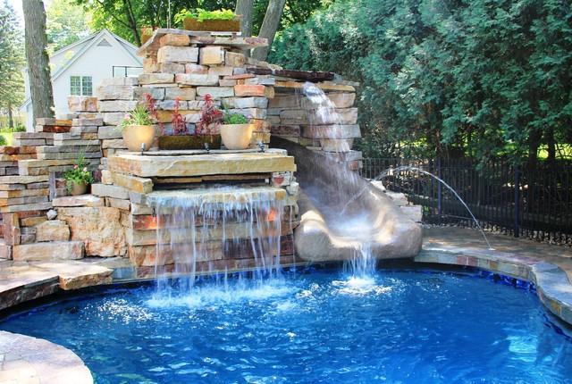 Delavan Lake Pool With Rock Slide Eclectic Pool