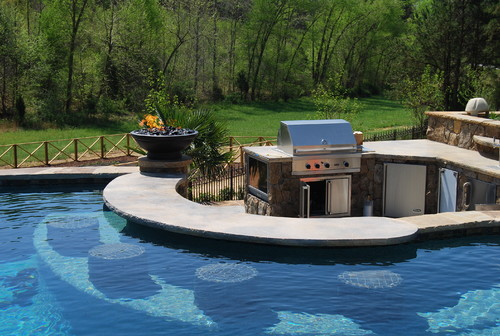Pool swim up bar outdoor kitchen