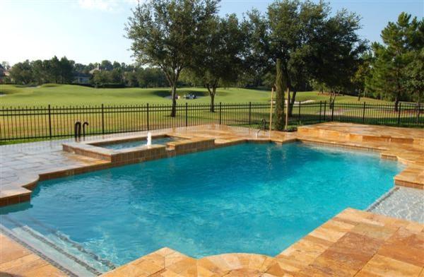 Desert Gold Travertine Pavers tropical-pool