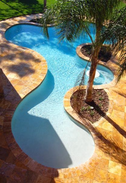 Desert Gold Travertine Pavers Tropical Pool Tampa By Travertine Warehouse