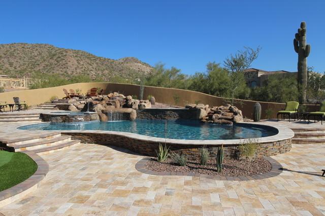 Desert outdoor living northeast mesa az rustic pool for Pools in mesa az