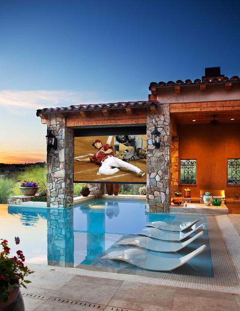 Dive in movie theater mediterranean pool phoenix by beringer fine homes - Dive in movie ...