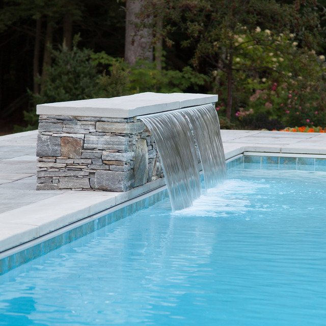 Double Cascading Waterfall Into Pool With Bench Underwater