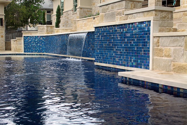 Double vanishing edge pool modern pool other metro by ocean quest pools by lew akins - Rectangle pool with water feature ...