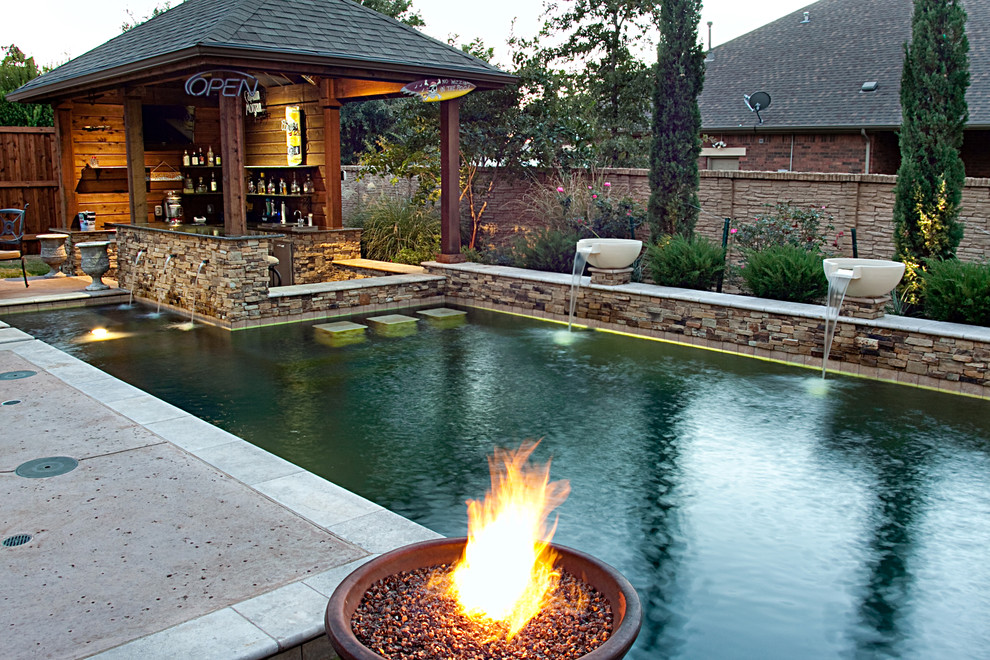 Dry Stack Custom Swimming Pool North Richland Hills Tx Rustic Pool Dallas By One Specialty Landscape Design Pools Hardscape