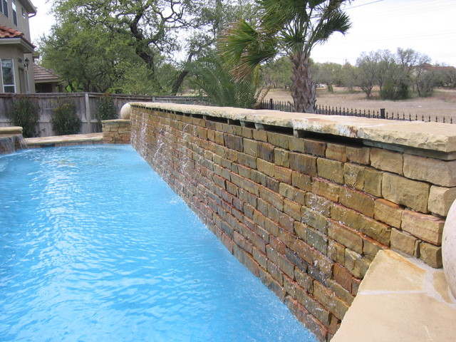 Dry Stack Weeping Wall Traditional Pool Austin By Blue Haven Pools Of Austin