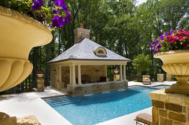 Dukas pool house pool dc metro by lewis aquatech for Swimming pool cabanas