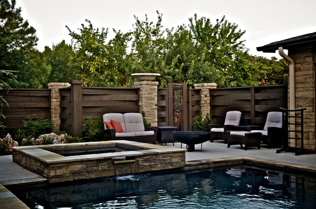 East Edmond Zen Pool Asian Swimming Pool Hot Tub Oklahoma City By Caviness Landscape