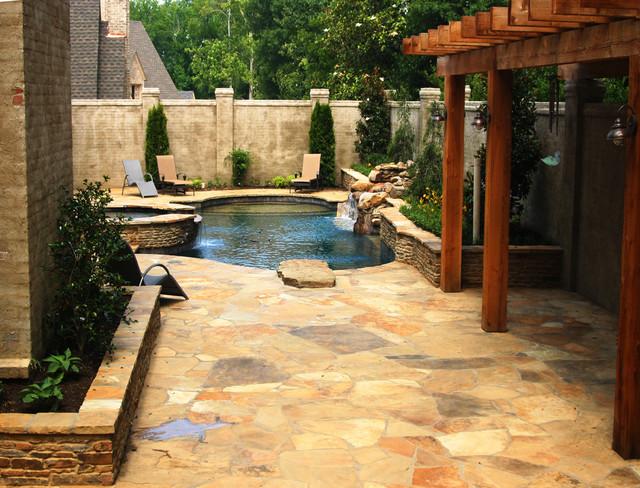 East Memphis Geometric Pool Spa Design