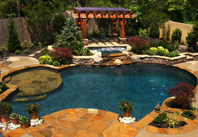 Outdoor natural pool  East Memphis Natural Pool, Spa, & Outdoor Living Design