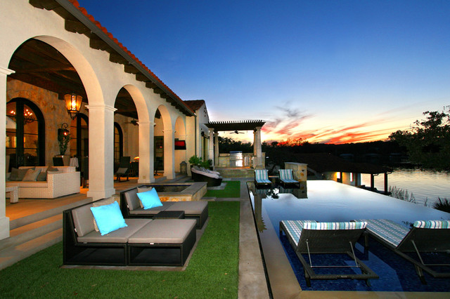 Eclectic Spanish Style Lake House Mediterranean Pool