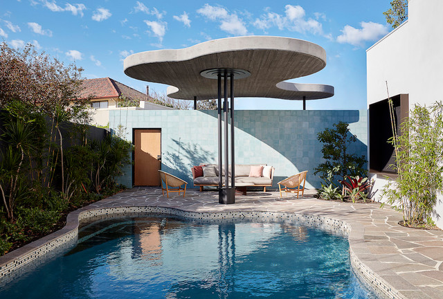 Midcentury custom shaped swimming pool in Perth.