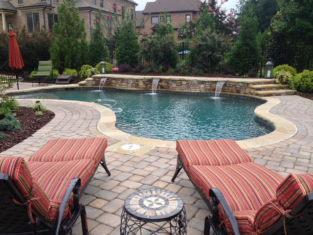 Elegant Free Form Pool Craftsman Pool Atlanta By