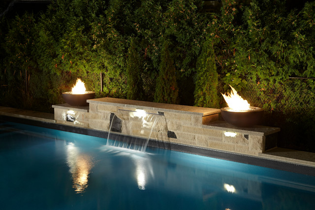 Elegant inground rectangle - Rectangle pool with water feature ...