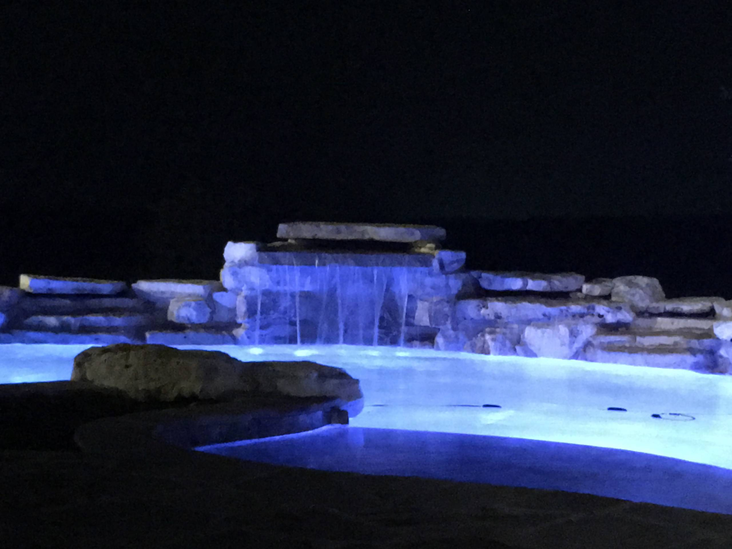Night shot of pool