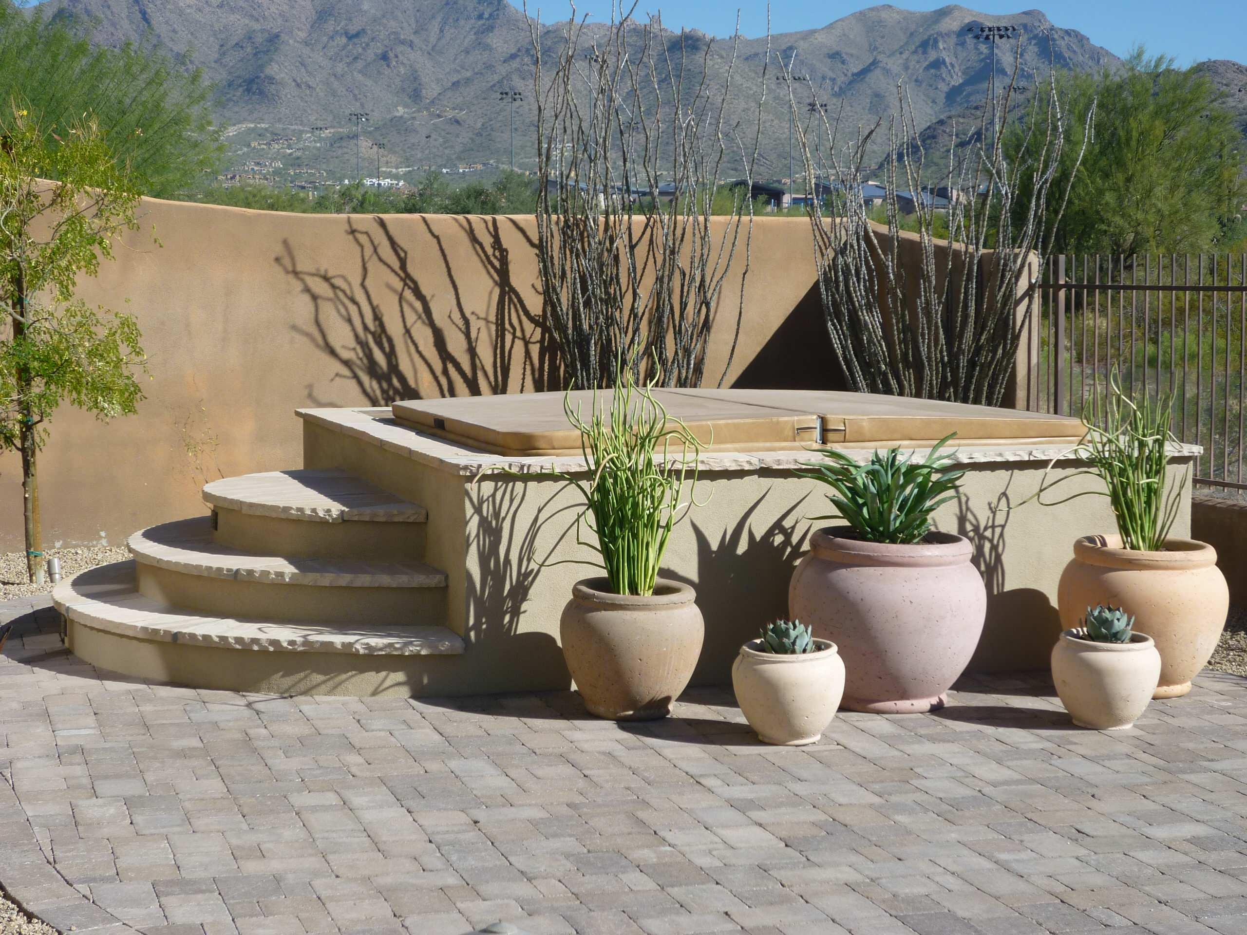 Enclosed Spa & Plantings