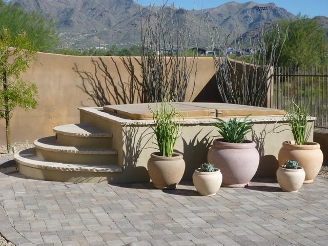 Enclosed Spa & Plantings contemporary-pool