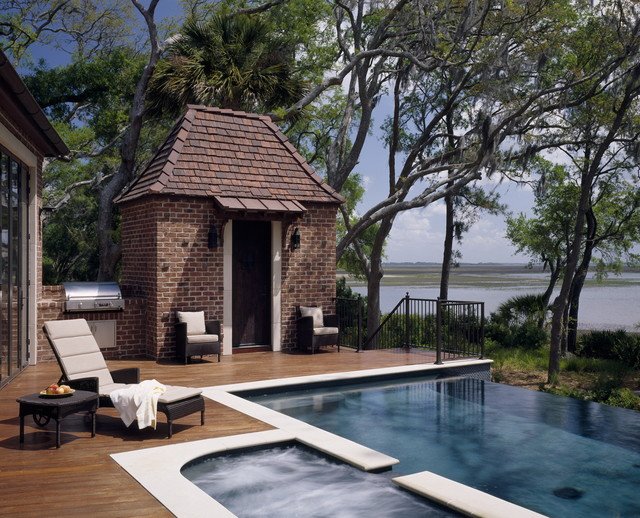 English Country Waterfront traditional-pool