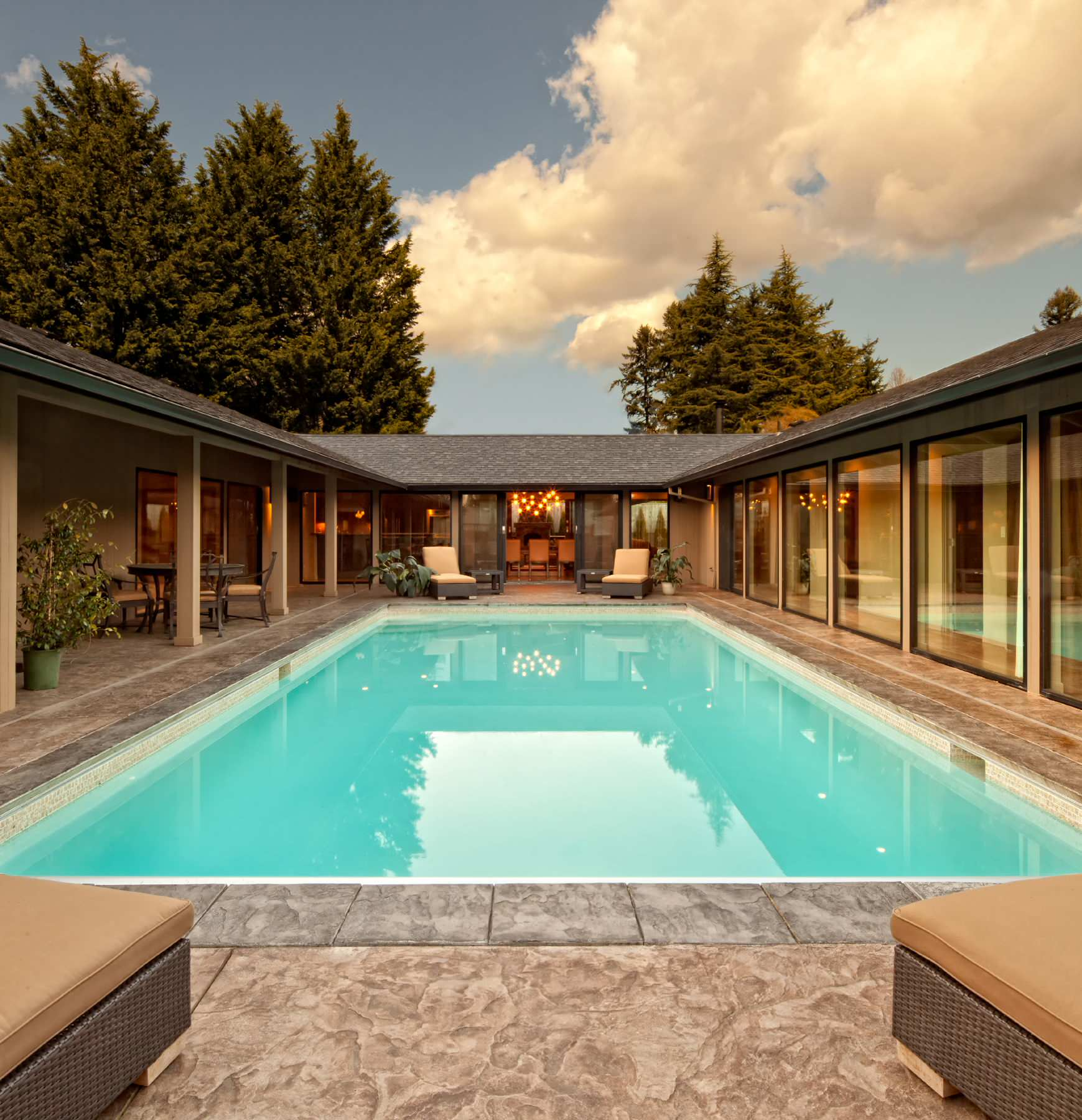 U Shaped House Pool Ideas Photos Houzz