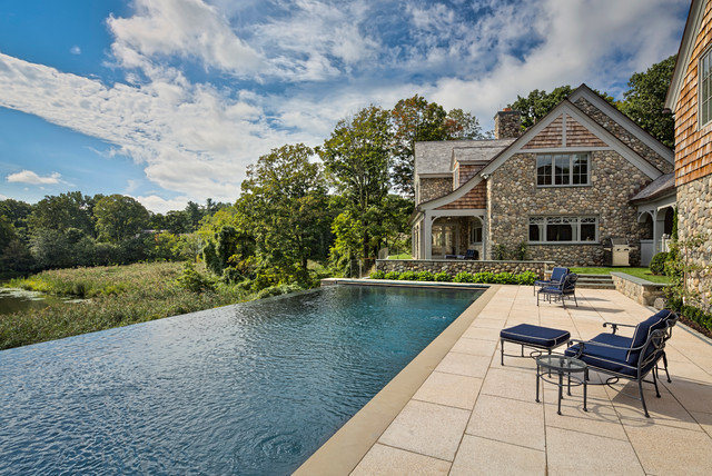 Delicieux Inspiration For A Huge Transitional Backyard Rectangular And Concrete Paver Infinity  Pool House Remodel In New