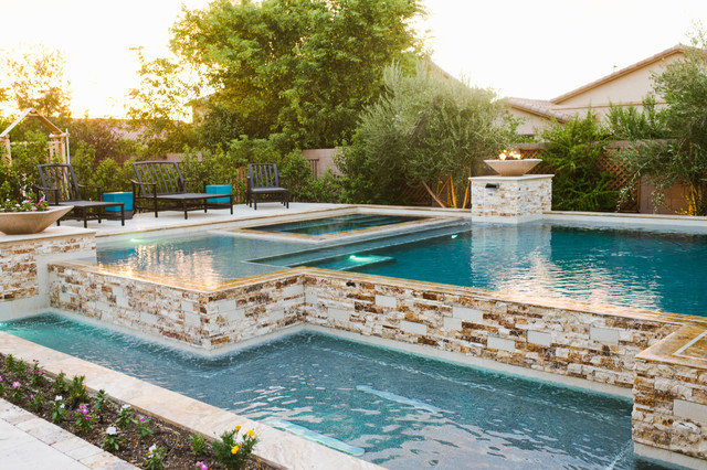 Family Outdoor Living Swimming Pool Entertainment Contemporary Pool Phoenix By Premier