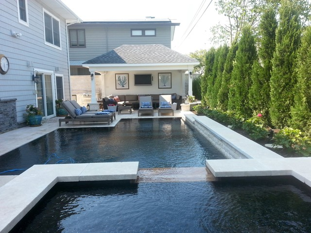 Fiberglass Pool Removal Instal New Gunite Mirror Edge