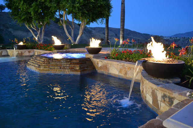 Fire and water bowls poolside project contemporary - Pool fire bowls ...