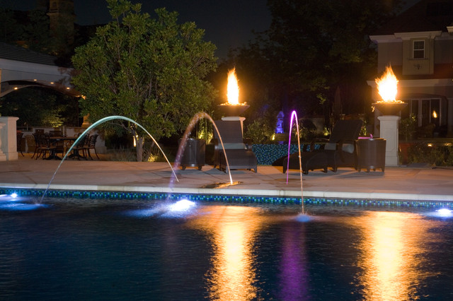 Fire bowls and fiber optic mediterranean pool san for Pool fire bowls
