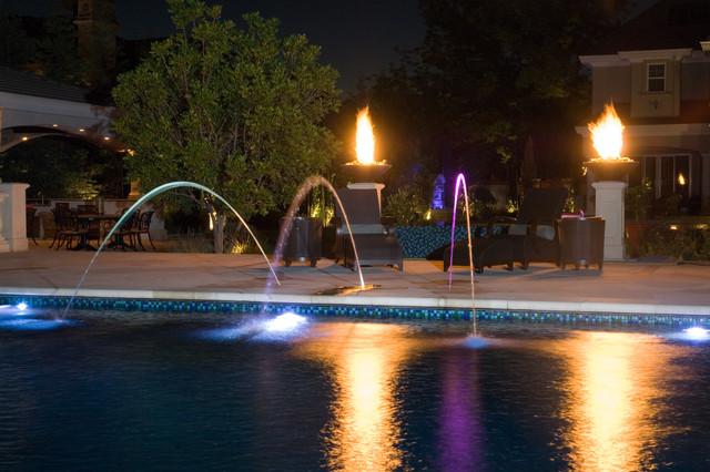 Fire Bowls And Fiber Optic Mediterranean Pool San