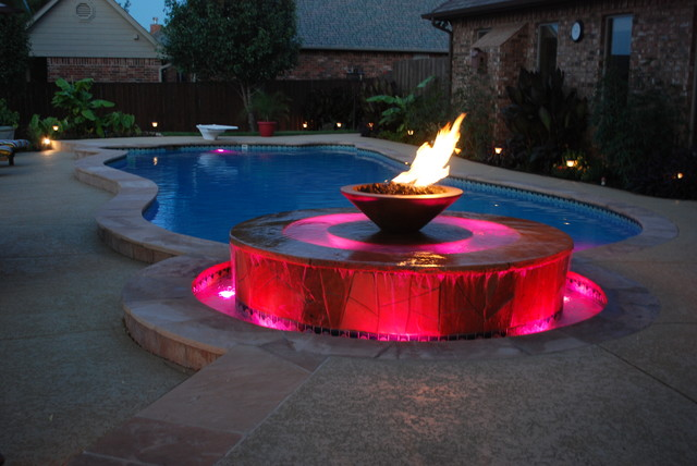 Fire Fountain Modern Pool Oklahoma City By J