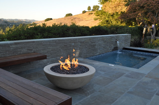 Fire Pit And Spa Modern Swimming Pool