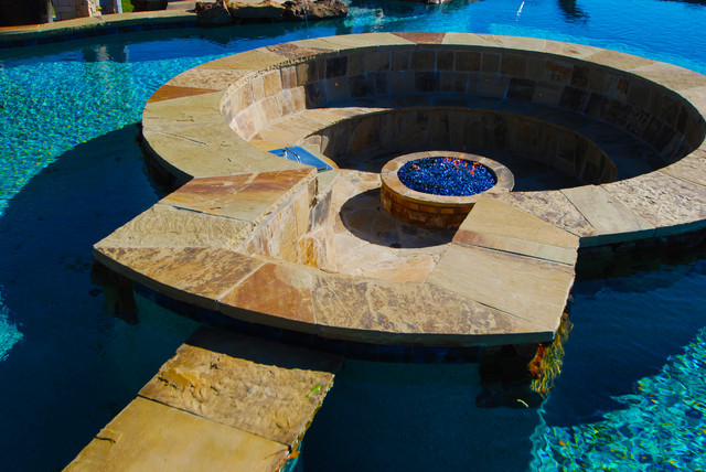 Fire Pit Structure Inside Pool Tropical Pool Dallas