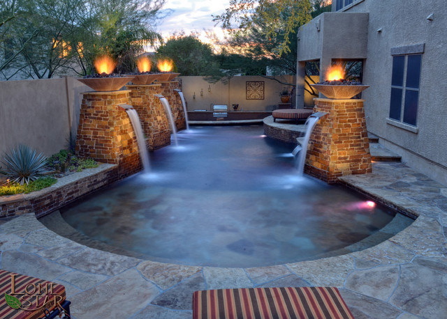 Fire Pots On Water Columns Traditional Pool Phoenix