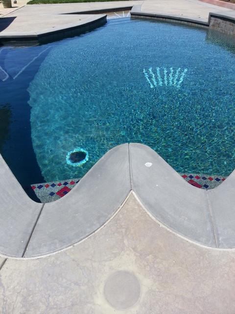 Fish shaped swimming pool farmhouse pool san francisco for Raising fish in a swimming pool