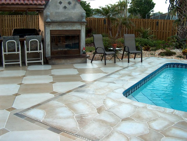 Flagstone and tile pool deck traditional pool for Florida pool and deck