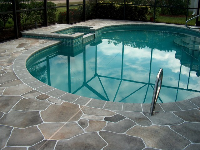 Flagstone pool deck melbourne traditional pool Flagstone pavers around pool