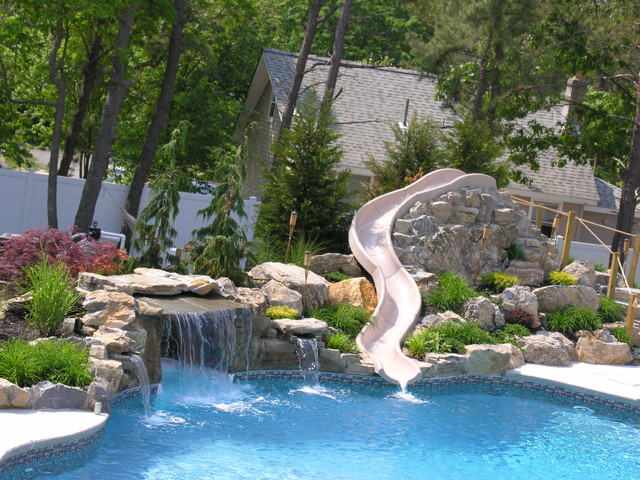 Forked river new jersey vinyl pool with slide modern for Pool design with slide