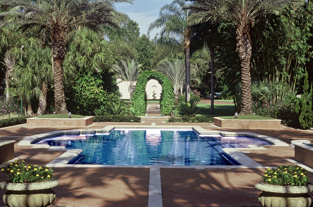 Formal finesse mediterranean pool orlando by bell for Houzz landscape architects