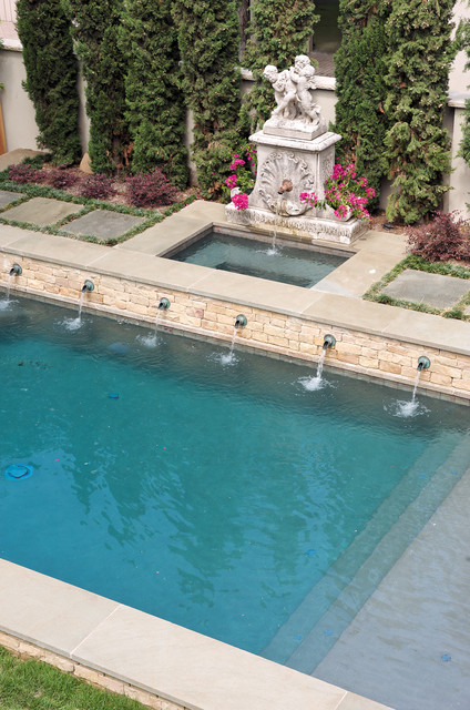 Pool Tile Water Fountain : Formal pool with fountain traditional dallas