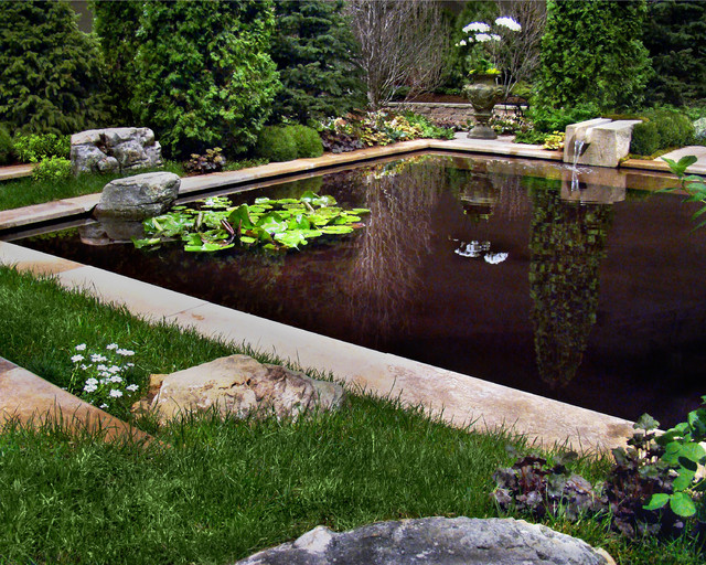 Formal water garden mediterranean pool by laughing for Koi pond with pool