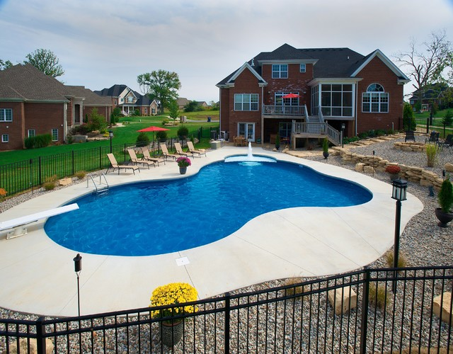 Free form vinyl liner swimming pool tropical pool for Pool design louisville ky